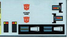 TRANSFORMERS GENERATION 1, G1 AUTOBOT OPTIMUS PRIME CAB REPRO LABELS/ STICKERS