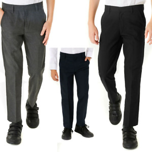 Boys Slim Fit School Trousers Black Grey Navy Uniform