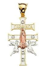 14K 3COLORS CARAVACA CROSS WITH VIRGEN GUADALUPE PENDANT