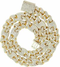 18K Gold Plated Cuban Link Out Iced Lab Diamond Prong Set 14mm Mariner Chain