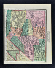 c 1900 George Cram Map - Nevada Carson City Lake Tahoe Austin Reno Hawthorne NV