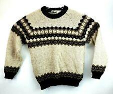 Highlan Creek Scottish Wool Pullover Brown Sweater Crew Neck Scotland Large
