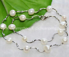 Wholesale Real Natural 8-9mm white Baroque Freshwater Pearl Necklaces C2217