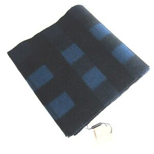 "J-727141 New Burberry Plaid Blue Black Blanket Scarf 79 x 13"""