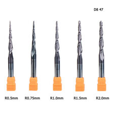 5Pcs Tapered Ball Nose End Mill Carbide 8mm Shank Flute Length 47mm CNC BIts