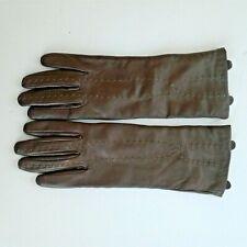 EMU Sheepskin Gloves Long Women Thin Lining Silk Brown with Contrast Stitch XS
