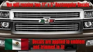 Mexican Flag OVERLAY Decals Stickers for Chevy Bowtie Emblem- 2 U CUT