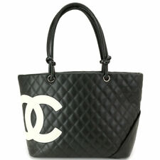 CHANEL Cambon Line Large Tote Bag Leather Black White A25169 Purse 90092087