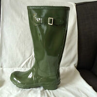 NEW -WOMENS- WELLIES- WELLINGTON BOOTS- FESTIVAL GLOSS  GREEN  -UK SIZES 3- 8/