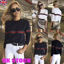 UK Fashion Womens Striped Tops Casual Long Sleeve Jumper Pullover Shirt Sweats