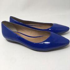 Pour La Victoire Women's sz 8 Blue Patent Leather Ballet Flats pointed toe Bre