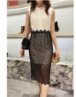 Sandro Paris Womens Dress Midi Lace Collared Ivory Black Size 2 Medium
