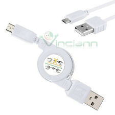 Cavo micro USB retrattile BIANCO dati sincronizza p Samsung Galaxy S3 mini i8190