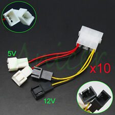 10x PC Fan 4-Pin Convert to 2pin/3pin (2x12V) (2x5V) Y-Splitter Cable Connector