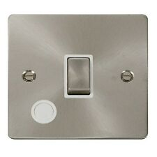 Click FPBS522WH 20A 1 Gang DP Switch Flex Out. Flat Plate.Brushed Steel / White
