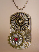 Steampunk Cogs Collage Pendant Watch Parts Gears Bling Dog Tag Necklace D144