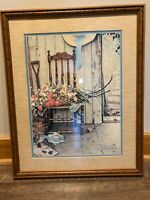Vintage 1969 Spring Flowers Norman Rockwell Gardener Chair Framed Lithograph