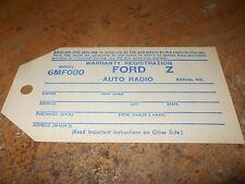 1946 1947 1948 FORD CAR AND TRUCK FACTORY RADIO WARRANTY REGISTRATION TAG NEW