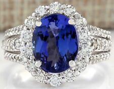 6.72CTW NATURAL TANZANITE AND DIAMOND RING IN 14K WHITE GOLD