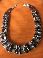 "Amethyst Silver Bead Bnwt 17"" Adjustable Necklace <T10787"