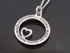 925 Sterling Silver Engraved Sisters Disc Pendant Necklace