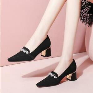 Women's Fashion Suede Leather Pearl Beaded Diamante Block Heel Loafer Shoes SKGB