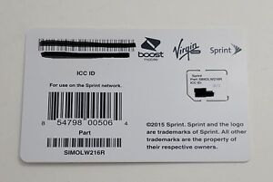Sprint sim card SIMOLW216R 4G LTE Read description for supported devices