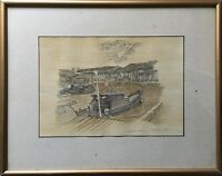 Watercolour 2 Melaka Malacca Malakka River - Port Boat - 12 5/8X16 1/8in