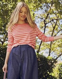 Joules Womens Vicky Knitted Stripe Jumper - Melon Stripe