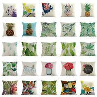 Flower/Leaf Linen Pillow Case Cover Sofa Waist Throw Cushion Office Home Decor