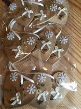 9 X Reindeer Christmas Decorations Shabby Chic Rustic Wood Heart Gold Cream
