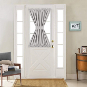 Grey French Door Curtains - Blackout Patio Door Door Window Curtain for Privacy