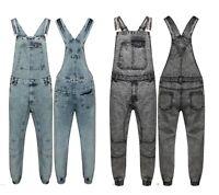 Mens Dungaree Acid Wash Full Length Denim Jeans Mid Bib Overalls XS - XXL