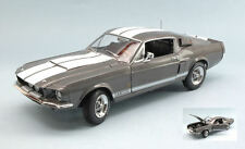 Shelby Mustang Gt-350 1967 Mouse-Grey W/white Stripes 1:18 Model AUTO WORLD