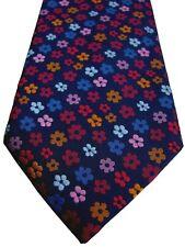 PROFUOMO ORIGINALE Mens Tie Dark Blue - Multi-Coloured Flowers NEW