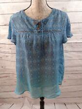 Como Vintage Women's Size Lg Turquoise  Boho Blouse Top Shirt Fun Embellished