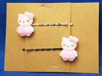 KITTY in PINK DRESS - Handmade Bobby PIn Hair clips - Set of 2