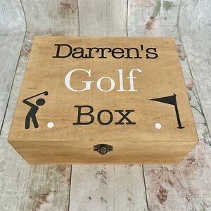 Personalised Rustic Wooden Golf Box Gift Wood Storage Tees Balls Dad Grandad