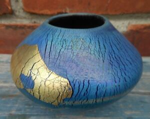 Super Eickholt 1988 Signed Art Glass Gold Leaf Vase