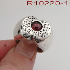 New Women Unique Sterling Silver 925 Apple shape Wide Ring Red Garnet (r10220-1)