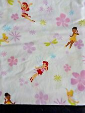 "DISNEY TINKERBELL Toddler Bed Flat Sheet 42"" W x 58"" L Fairies Flowers TINK"