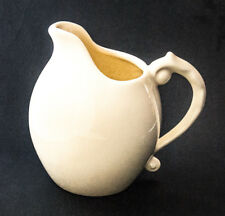 "Pitcher Ceramic Vase Haeger Pottery White Ornate Handle 7"""