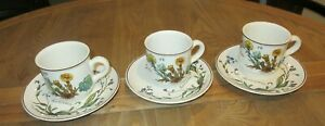 VINTAGE VILLEROY & BOCH BOTANICA SET 3 CUPS/SAUCERS/DUOS GERMANY GOOD COND