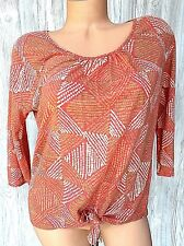 Lucky Brand WomensTop S Small Orange Linen Blend Tie Front 3/4 Sleeves Knitxxx