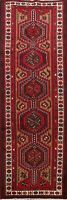 Vintage Tribal Geometric Ardebil Runner Rug Hand-knotted Oriental Carpet 3'x11'