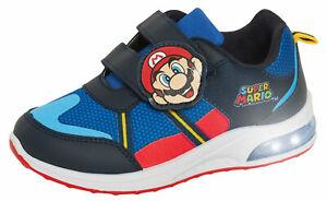 Boys Super Mario Brothers Light Up Trainers Kids Nintendo Flashing Lights Shoes