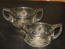 Vintage Cut Glass Sugar Bowl and Creamer Set, Silver Trim