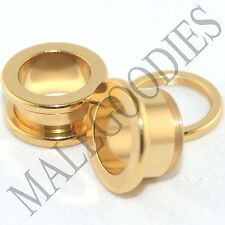 """1492 Screw on/fit Steel Anodized Gold Tunnels Earlets Ear Plugs 7/16"""" Inch 11mm"""