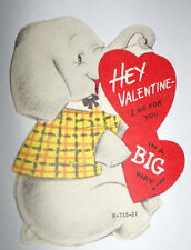 Vtg 1950s Elephant Go for You Big Way Children's Valentine's Day Card
