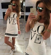 "Women ""LOVE"" Printed Shirt Dress Casual Pencil Dress Long Tops Shirts Plus Size"